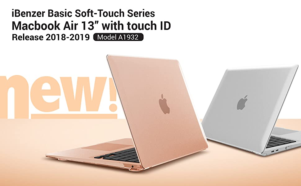 iBenzer Macbook Air 13 Inch Case 2019 2018 Release New Version A1932, Soft Touch Hard Case Shell Cover for Apple MacBook Air 13 Retina with Touch ID, ...
