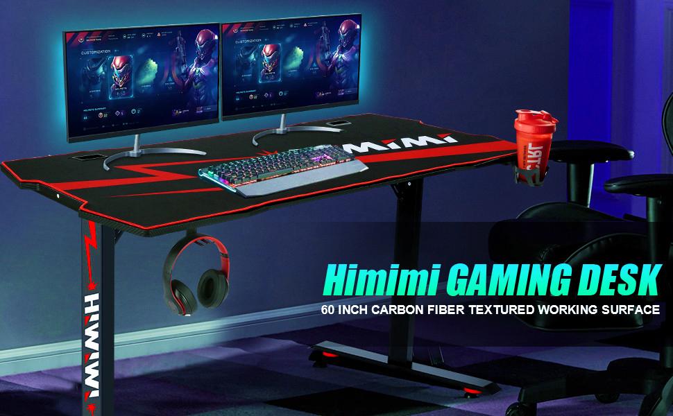 Himimi 60 Mesa Gaming Desk , Ergonómica Grande PC Gaming Escritorios 152 x 71 x 76 cm, Computer Computadora Gamer Pro Tablas con Alfombrilla de ...