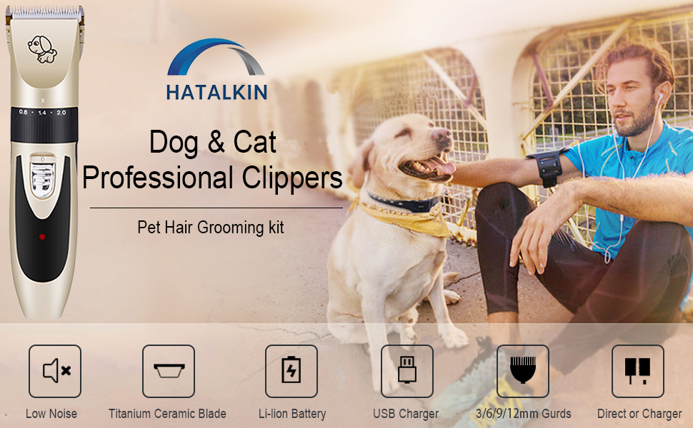 HATALKIN Dog Clippers, Pet Grooming Kit, Cat Hair Electric Shaver