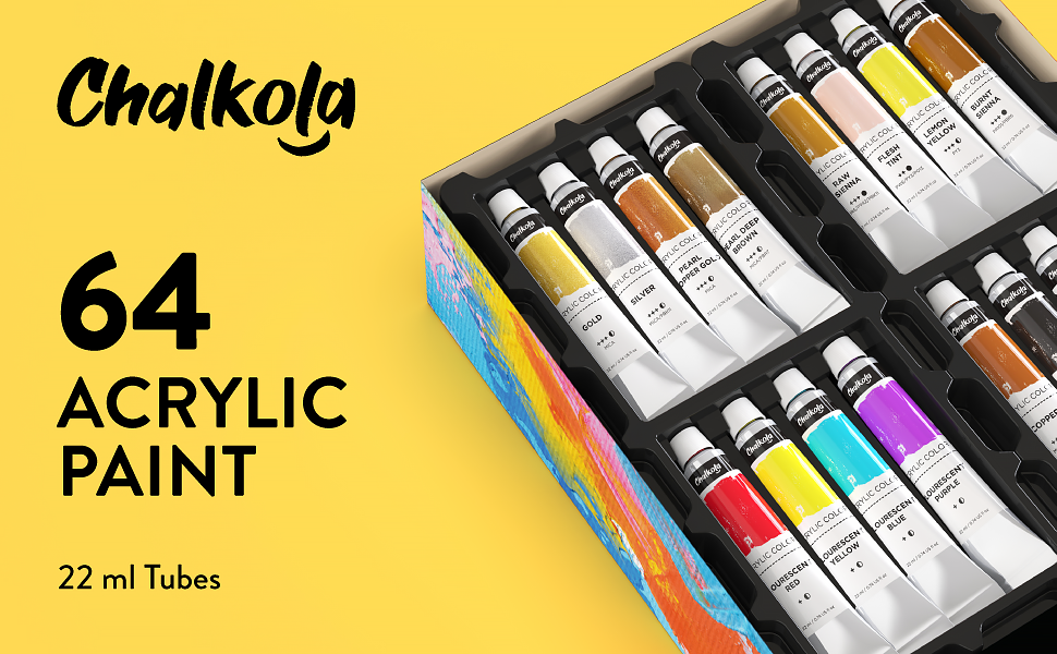 Acrylic Paint Set (64 Colors, 22 ml Tubes, 0.74 oz.) for Canvas, Crafts, Wood Painting