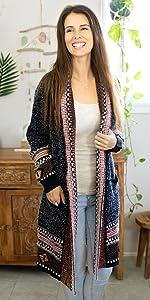 Womens Boho Cardigan Long Sweaters Aztec Tribal Fringe Cardigans Kimono Duster Oversized Lightweight