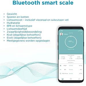 bluetooth slimme personenweegschaal met app