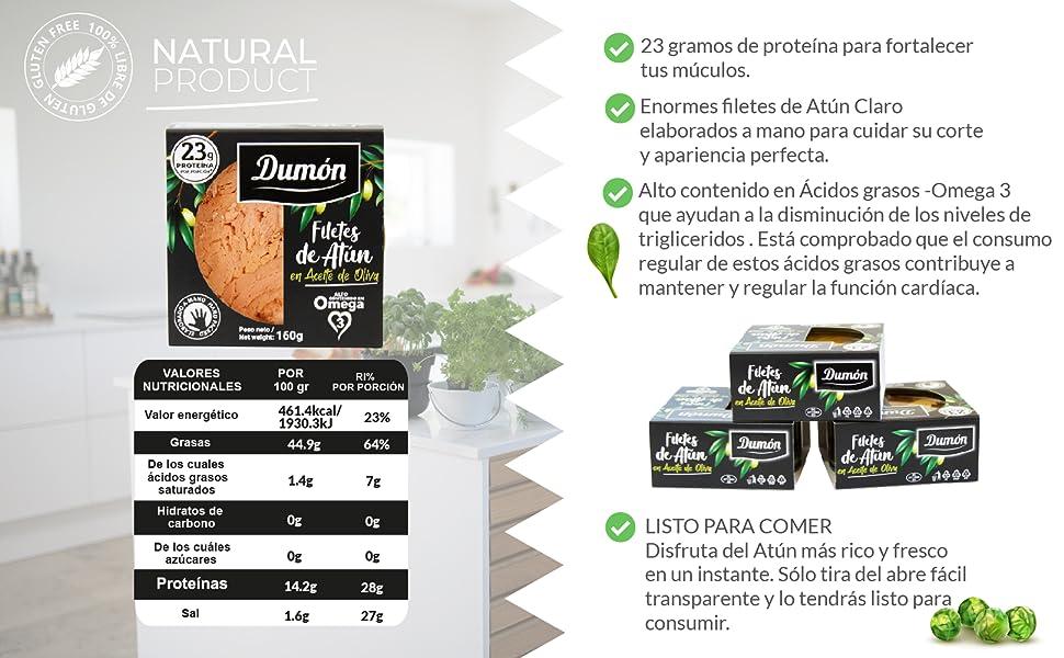 Dumon - 15 Unidades de 160 gr de Filetes de Atun en Conserva en Aceite de Oliva, Exclusivo Formato Transparente con Abre Fácil, Conserva de Pescado en ...