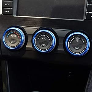 Blue Anodized Aluminum AC Climate Control Knob Ring Covers For Subaru