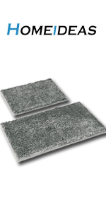 silver gray bathroom rug mat set