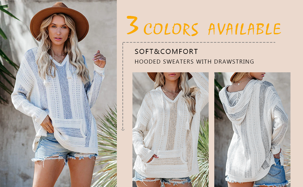 loose striped pullover tops with drawstring