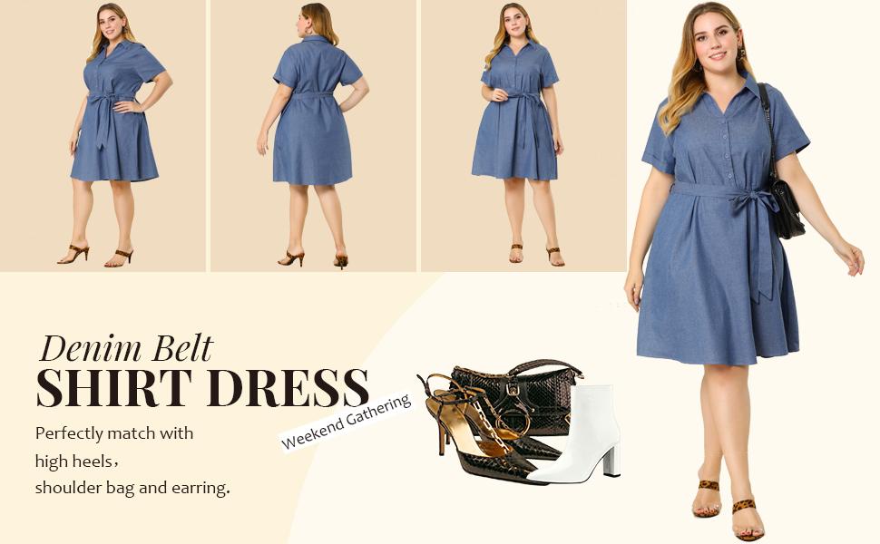Denim Belt Shirt Dress