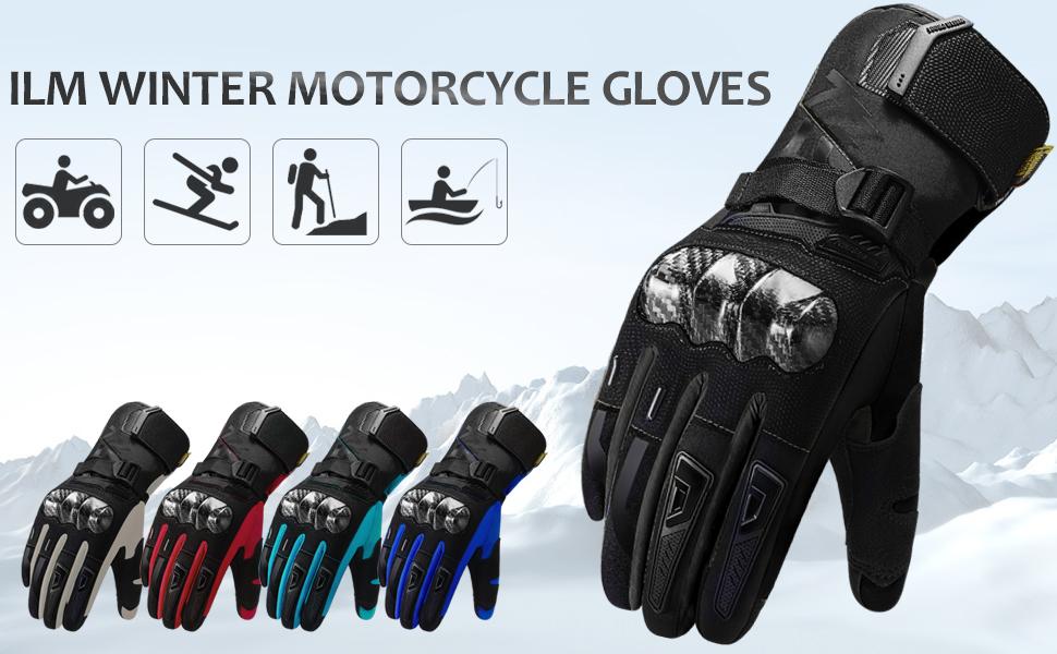 Black,Medium MADBIKE Motorcycle Motocross Gloves Touchscreen with Carbon Fiber Hard Knuckle Winter Use for Dirt Street Bike Men Women
