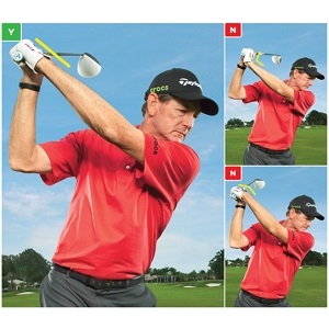 Correct wrist position at the top of the backswing