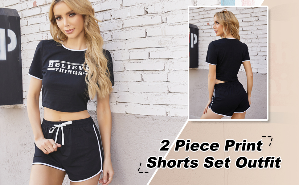 Womens Casual 2 Pieces Outfit Bodycon Shorts Set