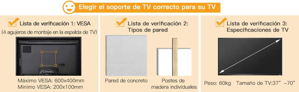 Soporte TV de Pared Articulado Inclinable y Giratorio para Pantallas de 37-70 Pulgadas, hasta 60 kg, MAX VESA 600x400mm: Amazon.es: Electrónica