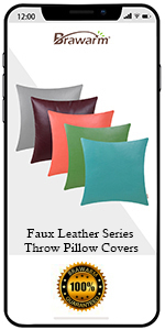 Faux Leather Throw Pillow Covers