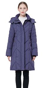 Women's Thickened Down Jacket with Hood Darkgrey