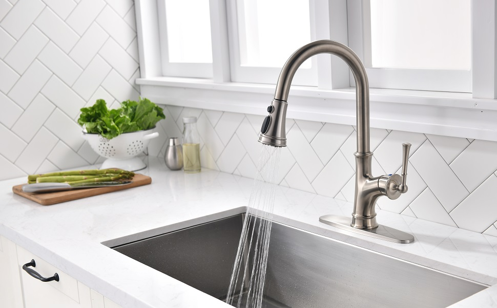 APPASO Pull Down Kitchen Faucet with Magnetic Docking Sprayer, Stainless  Steel Brushed Nickel Single Handle Commercial High Arc Single Hole Pull Out  ...