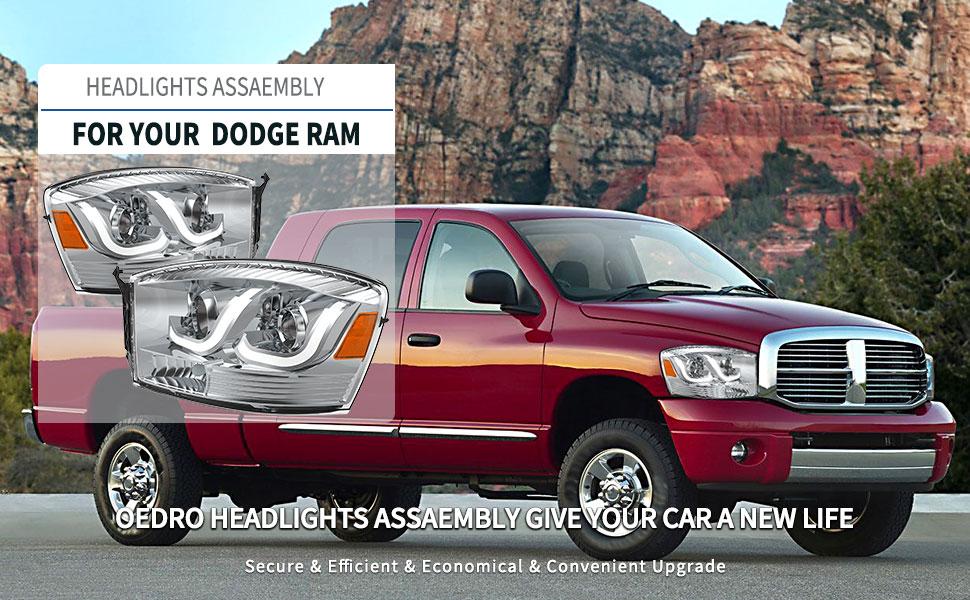 dodge ram 1500 2500 3500 headlights w/ led daytime running light drl tube bar