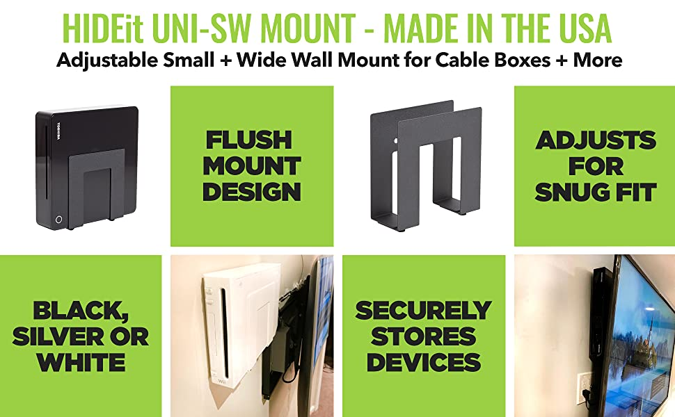 HIDEit Small and Wide Wall Mount for Cable boxes, routers and modems!