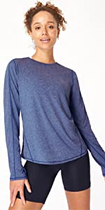 energise workout long sleeve top shirt blue navy