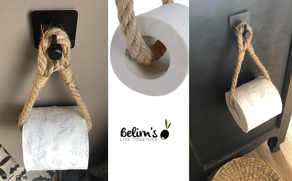 support papier toilette corde de jute crochet adhésif wc dérouleur pq porte papier toilette mural pq