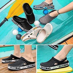Corriee Sandals for Men Breathable Mesh Boat Shoes Beach Flip Flops Mens Flat Slippers Anti-Slip Garden Clogs
