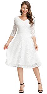 V Neck Lace Dress for Women