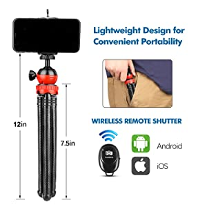 Portable Cellphone Camera Tripod Stand with Wireless Remote
