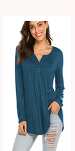 long sleeve henley shirt pleated button-up tops flowy blouse tunics to wear with leggings