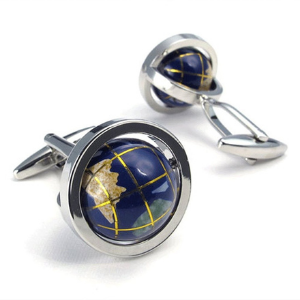 globe cufflink set for men
