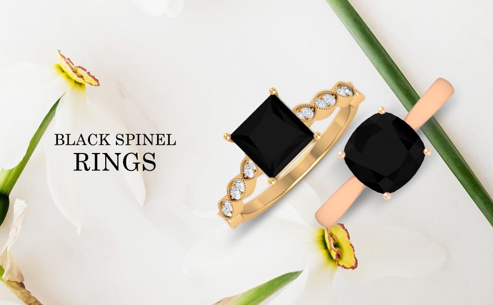 banner Black Spinel Rings