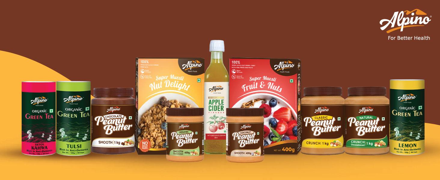 Alpino, ACV, Peanut butter, apple cider vinegar, green tea, kahwa, muesli