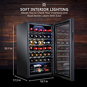 Ivation wine cooler Soft interior lighting