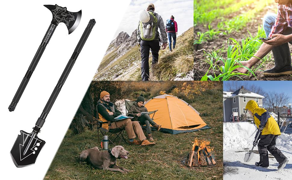 camping shovel axe set