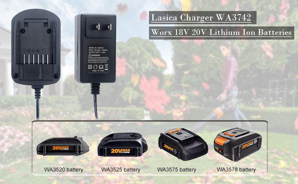 WORX 20v Lithium Battery Charger WA3742 For WORX WA3520 WA3525 WA3575 Batteries