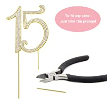 15 cake topper quinceanera birthday gold 15th party decorations fifteen decoration for girls