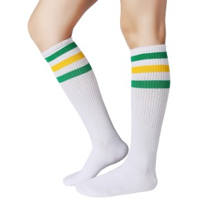 """38-40/""""-Made in USA 1 Pair White tube socks with 3 Rust Stripes-Approx"""