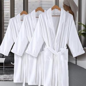 Terry Cotton Cloth Robes Cotton Bathrobe Soft Warm Hooded Robe Calf Length Sleepwear with Pockets