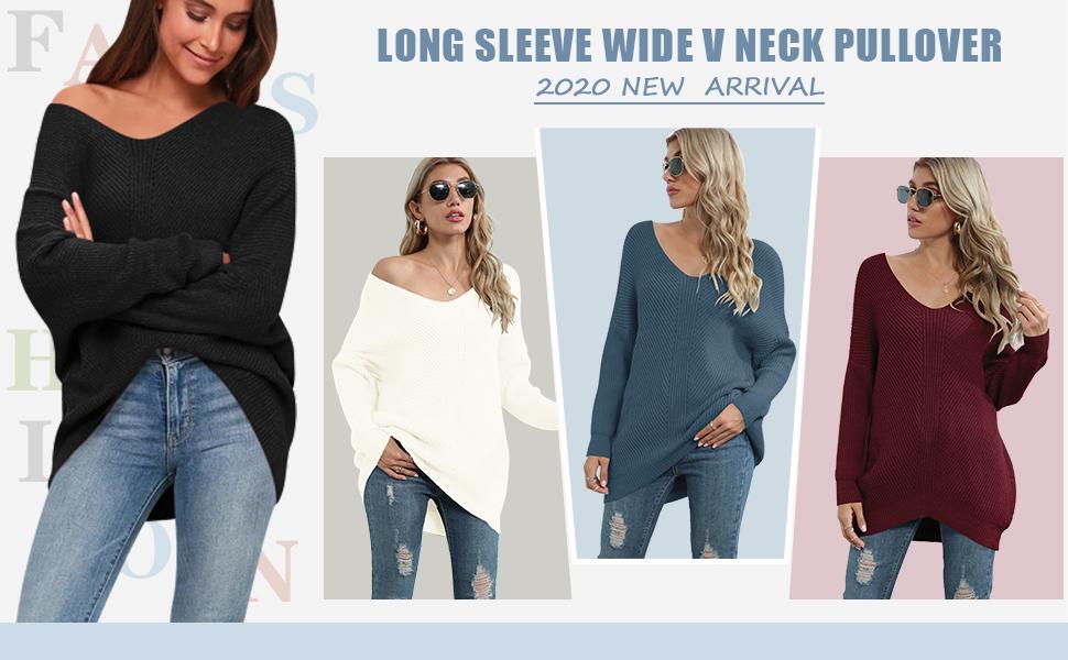 Women's Off Shoulder Sweater V Neck Batwing Sleeve Loose Oversized Pullover Knit Jumper