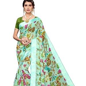 Indian Women designer saree stylish border printed ethnic sari