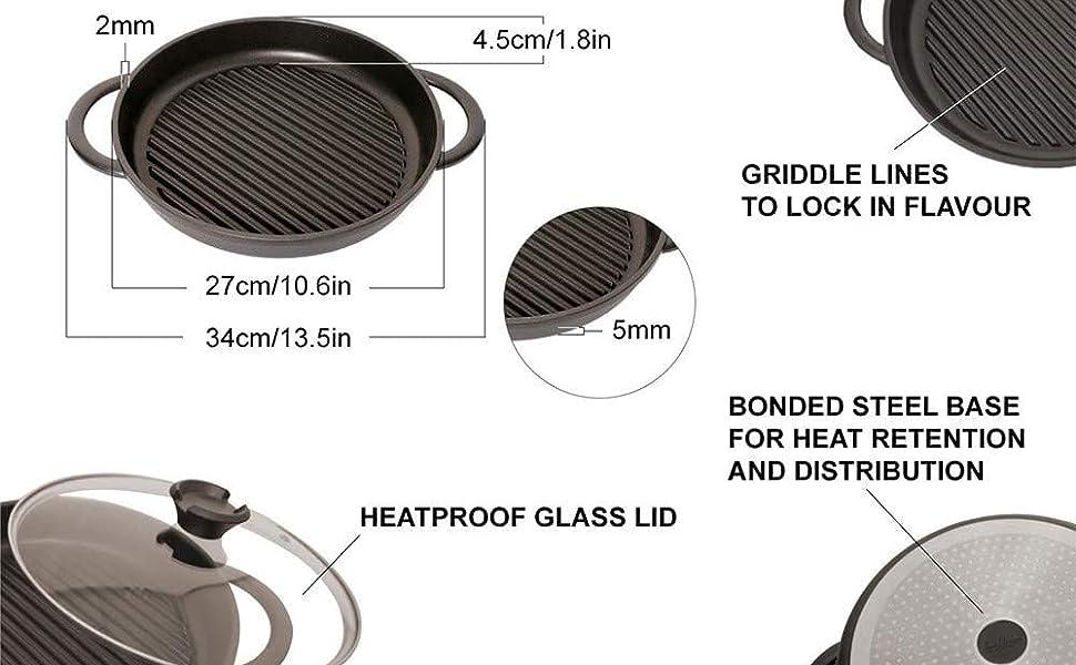 JP1252US - Jean Patrique The Whatever Pan - Cast Aluminium Griddle Pan with Glass Lid