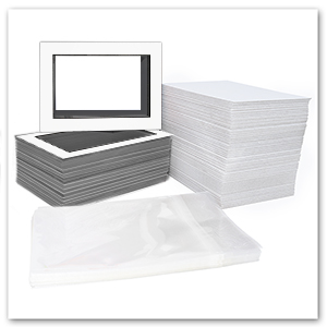 Backing 100 set of 12x16 WHITE Photo Mat with White Core for 8x12 photo Bags