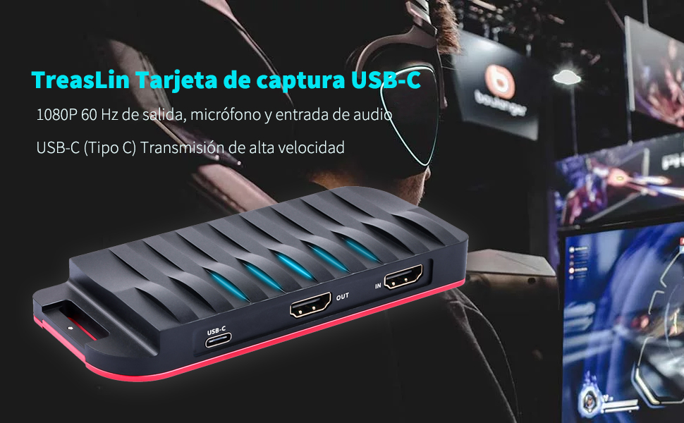HDMI Capturadora Video Juegos, USB C HD Game Capture For PS4,PS3,Nintendo switch,Xbox one, TreasLin Grabadora de HDCP 1080P y Streaming con Mezclador de Micrófono/audio for Mac, windows, linux(TSV325): Amazon.es: Electrónica