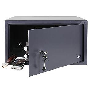 HMF 49204-11 Caja Fuerte, con espacio para porttiles de 15 pulgadas, Expediente, Cerradura De Doble Paletón, 45 x 25 x 36,5 cm, antracita: Amazon.es: Bricolaje y herramientas