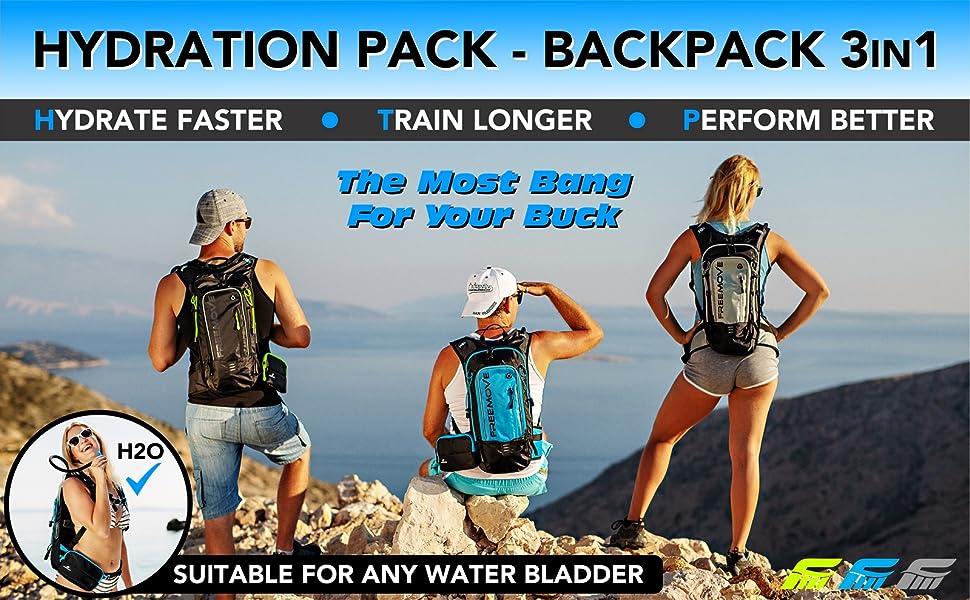 FREEMOVE hydration pack water backpack camelbak hiking cycling MTB running biking camelback daypack