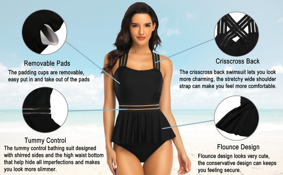 tummy control , crisscross back, flounce desigh, yummy control swimsuit
