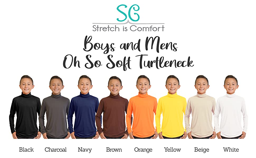 Stretch Is Comfort Boys and Mens Long Sleeve Oh So Soft Turtleneck