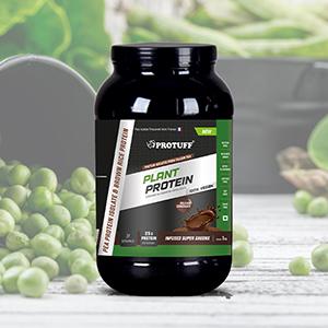 Protuff plant protein jar kept on table