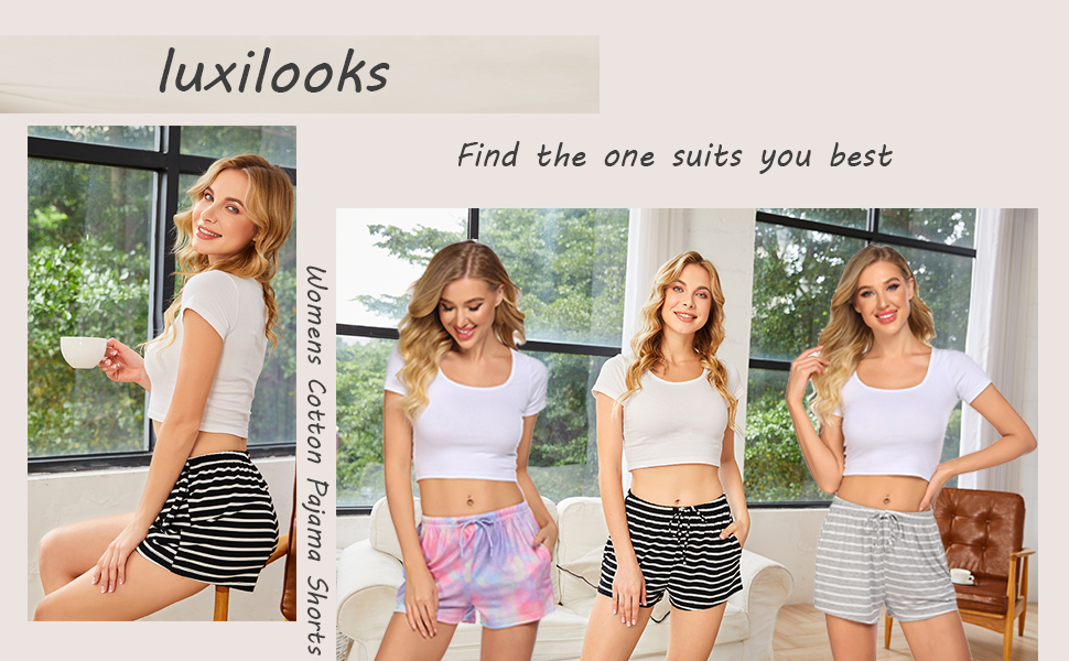 luxilooks Womens Cotton Pajama Shorts with Pockets Stretchy Lounge Bottoms Striped Sleepwear Pants S-XXL