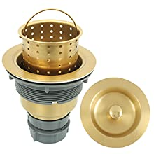 Kitchen Sink Basket Strainer with Drain Assembly for 3-1/2-inch Sink Opening Size, Gold
