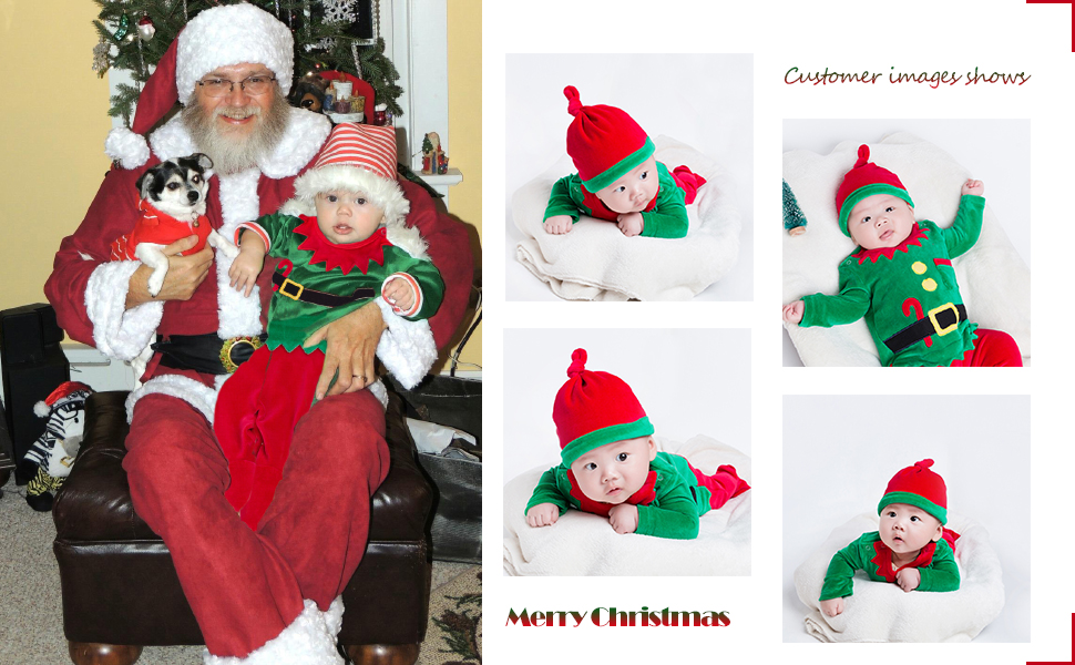 Merry Christmas Baby Boy Girls Santa Claus Tops Pants Hat Xmas Party Costumes