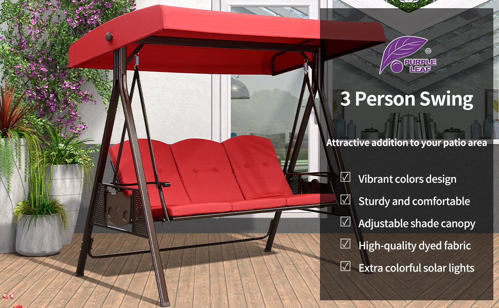 purple leaf 3 seat deluxe outdoor patio porch swing with weather resistant steel frame adjustable tilt canopy cushions and pillow included terra