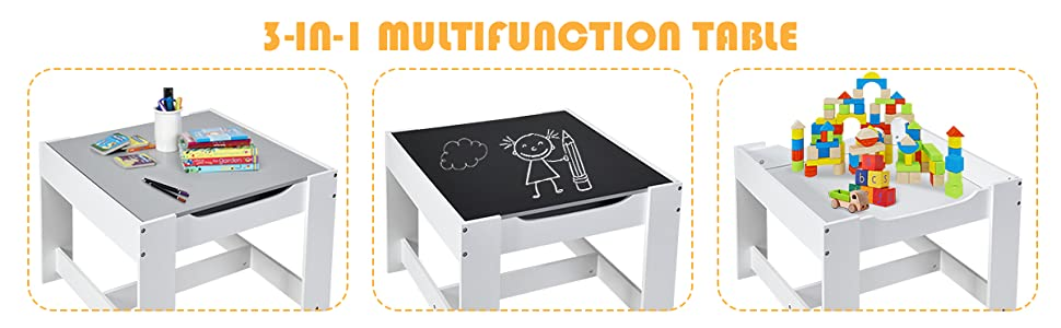 3 in 1 multifunctional table for boys and girls - Costzon 3 In 1 Kids Wood Table & 2 Chair Set, Children Activity Table Desk Sets W/Storage Drawer, Detachable Blackboard For Toddlers Drawing Reading Art Playroom, 3-Piece Kiddy-Sized Furniture (Gray)